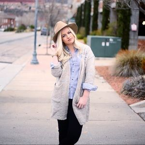 Sweaters - Grey distressed knee-length cardigan